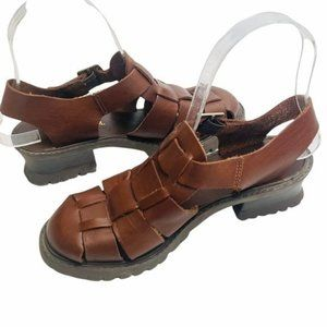 Anthropologie Brown Leather Fisherman Sandals